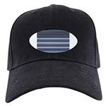 Blue and Grey Stripes Pattern Black Cap