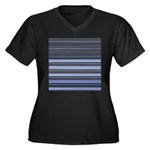 Blue and Grey Stripes Pattern Women's Plus Size V-
