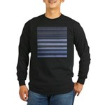 Blue and Grey Stripes Pattern Long Sleeve Dark T-S