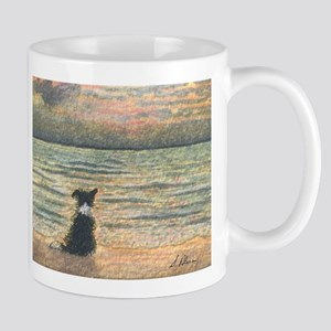 A Border Collie dog says hello to the morning Mug