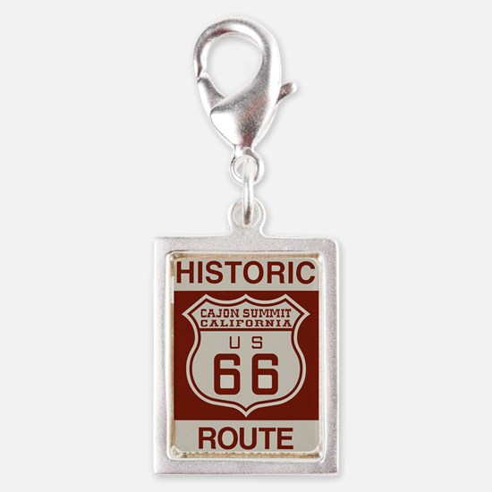 Cajon Summit Route 66 Silver Portrait Charm