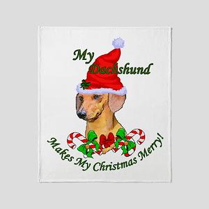 Dachshund Christmas Throw Blanket