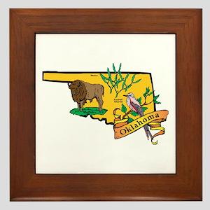 Oklahoma Map Framed Tile