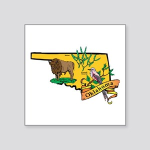 "Oklahoma Map Square Sticker 3"" x 3"""