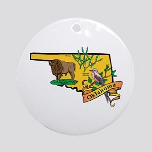 Oklahoma Map Ornament (Round)