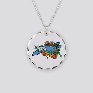 North Carolina Map Necklace Circle Charm