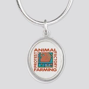 Factory Farming Silver Oval Necklace