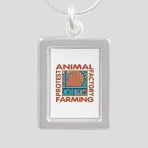 Factory Farming Silver Portrait Necklace