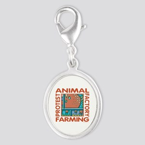 Factory Farming Silver Oval Charm