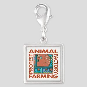 Factory Farming Silver Square Charm