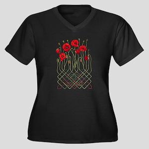 Celtic Poppies Women's Plus Size V-Neck Dark T-Sh