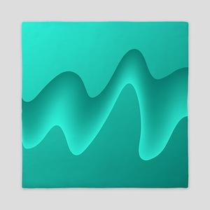 Teal Wave Image. Queen Duvet