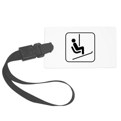 Snow Skiing Chair Lift Large Luggage Tag