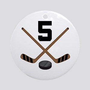 Hockey Player Number 5 Ornament (Round)
