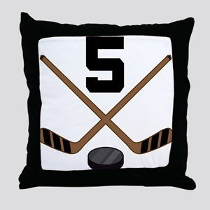 Hockey Player Number 5 Throw Pillow