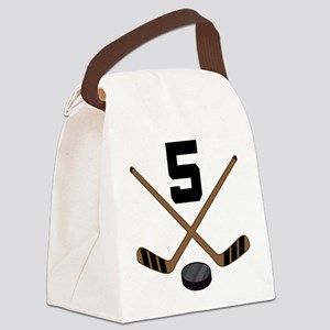 Hockey Player Number 5 Canvas Lunch Bag