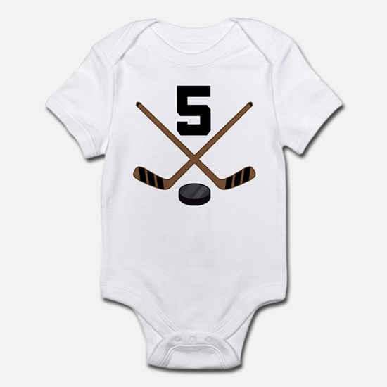 Hockey Player Number 5 Infant Bodysuit