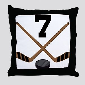 Hockey Player Number 7 Throw Pillow