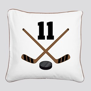 Hockey Player Number 11 Square Canvas Pillow