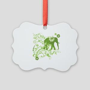 Elephant Swirls Green Picture Ornament