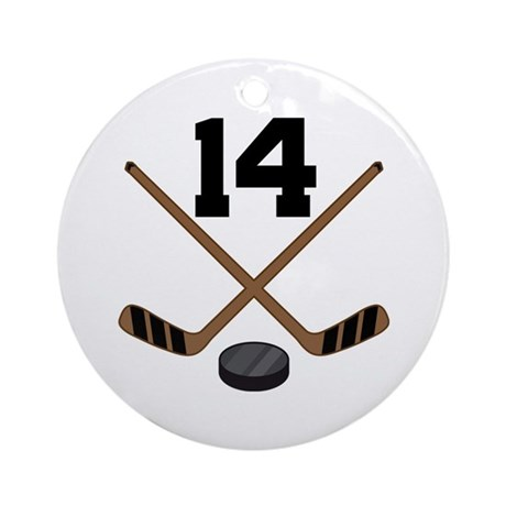 Hockey Player Number 14 Ornament (Round)