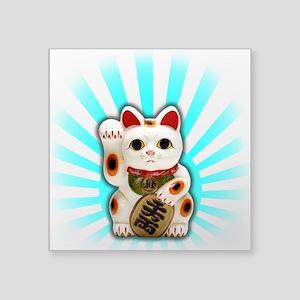 "Lucky Cat (Maneki-neko) Square Sticker 3"" x 3"""