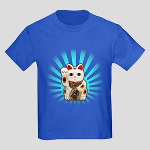 Lucky Cat (Maneki-neko) Kids Dark T-Shirt