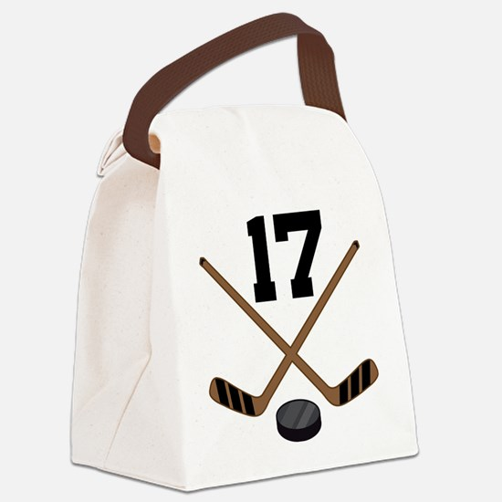 Hockey Player Number 17 Canvas Lunch Bag