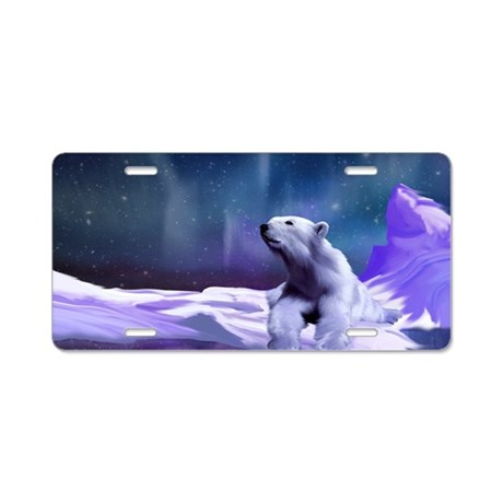 Contemplative Polar Bear Aluminum License Plate