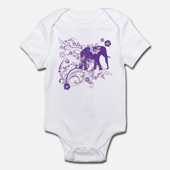 Elephant Swirls Purple Infant Bodysuit