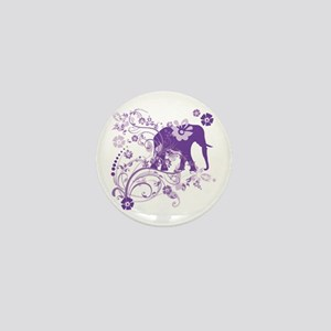 Elephant Swirls Purple Mini Button