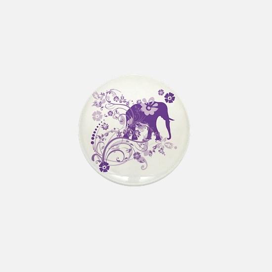 Elephant Swirls Purple Mini Button