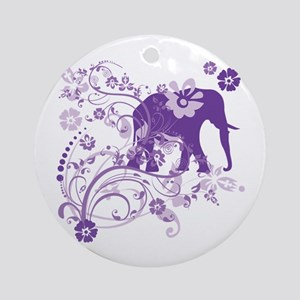 Elephant Swirls Purple Round Ornament