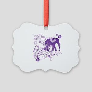 Elephant Swirls Purple Picture Ornament