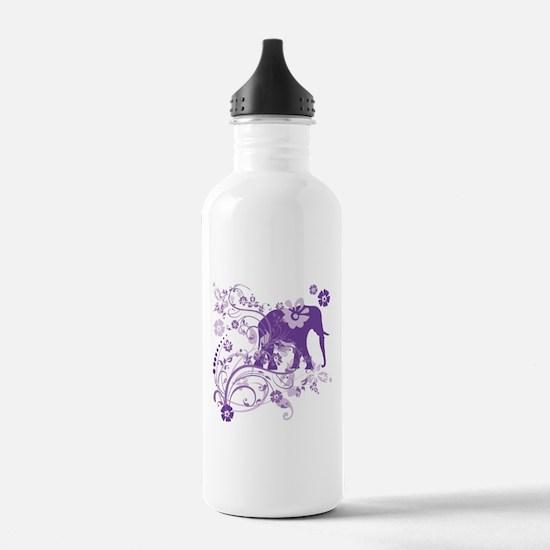 Elephant Swirls Purple Water Bottle