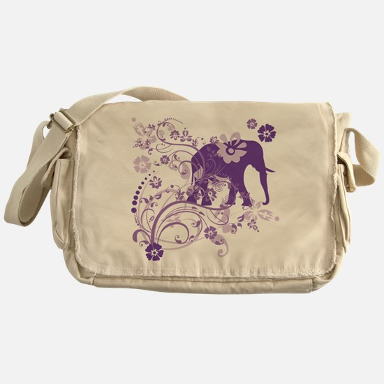 Elephant Swirls Purple Messenger Bag