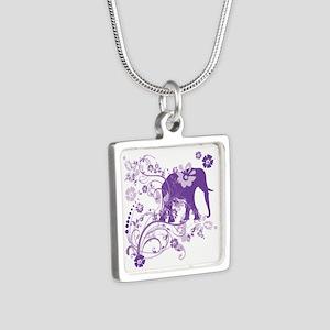 Elephant Swirls Purple Silver Square Necklace