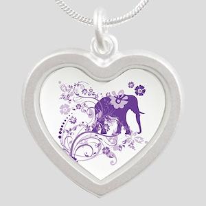 Elephant Swirls Purple Silver Heart Necklace