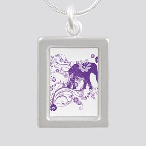 Elephant Swirls Purple Silver Portrait Necklace