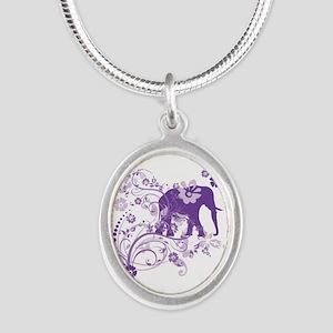 Elephant Swirls Purple Silver Oval Necklace