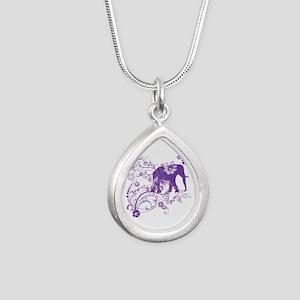Elephant Swirls Purple Silver Teardrop Necklace
