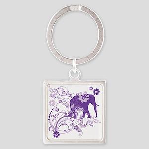 Elephant Swirls Purple Square Keychain