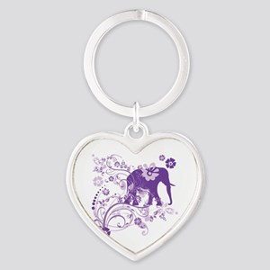 Elephant Swirls Purple Heart Keychain