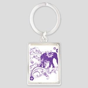 Elephant Swirls Purple Portrait Keychain