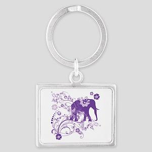 Elephant Swirls Purple Landscape Keychain