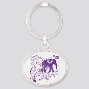 Elephant Swirls Purple Oval Keychain