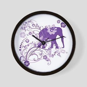 Elephant Swirls Purple Wall Clock