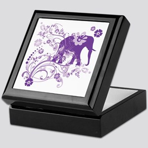 Elephant Swirls Purple Keepsake Box