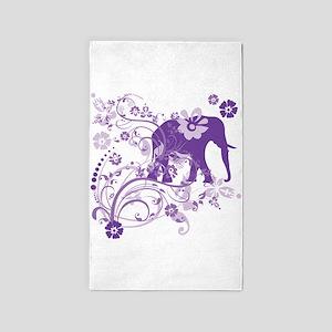 Elephant Swirls Purple Area Rug