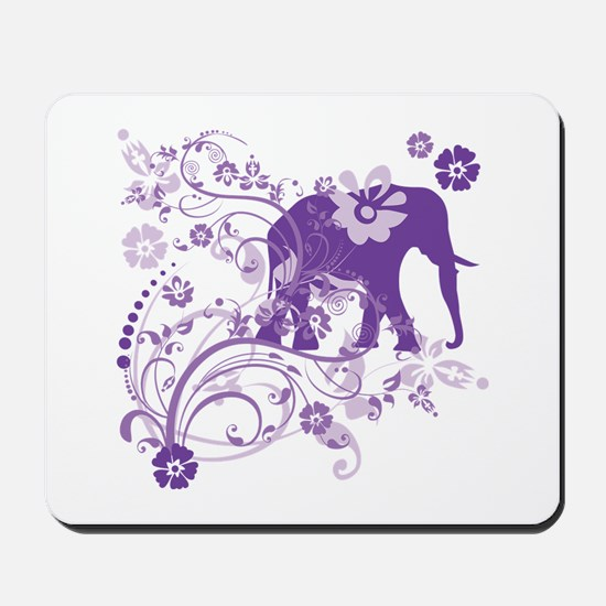 Elephant Swirls Purple Mousepad